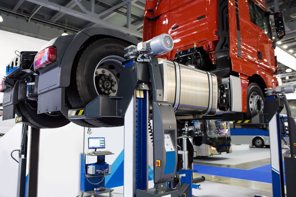 workshop truck on lift having service
